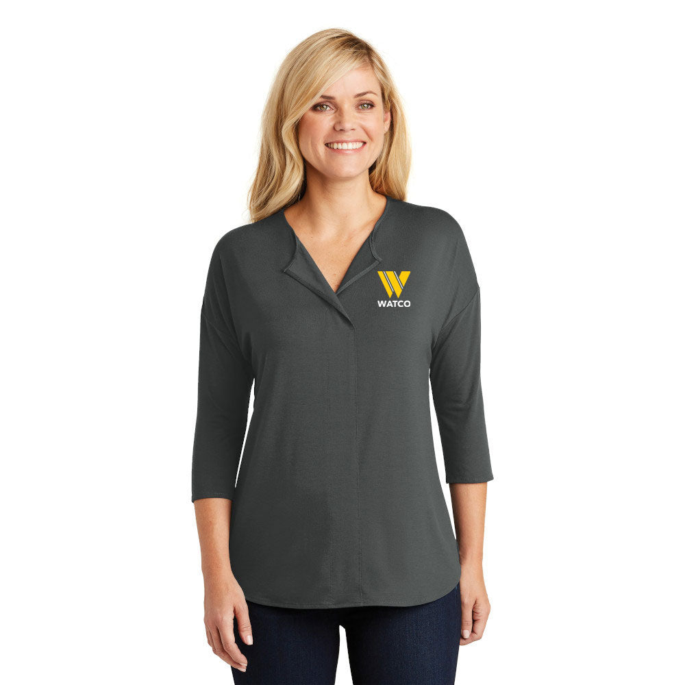 Port Authority® Ladies Concept 3/4-Sleeve Soft Split Neck Top - LK5433