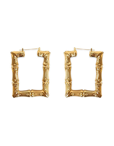 Square bamboo hoop earrings
