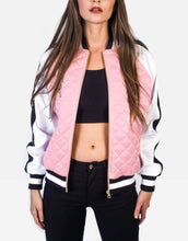 Load image into Gallery viewer, Married To The Mob Satin bomber jacket pink