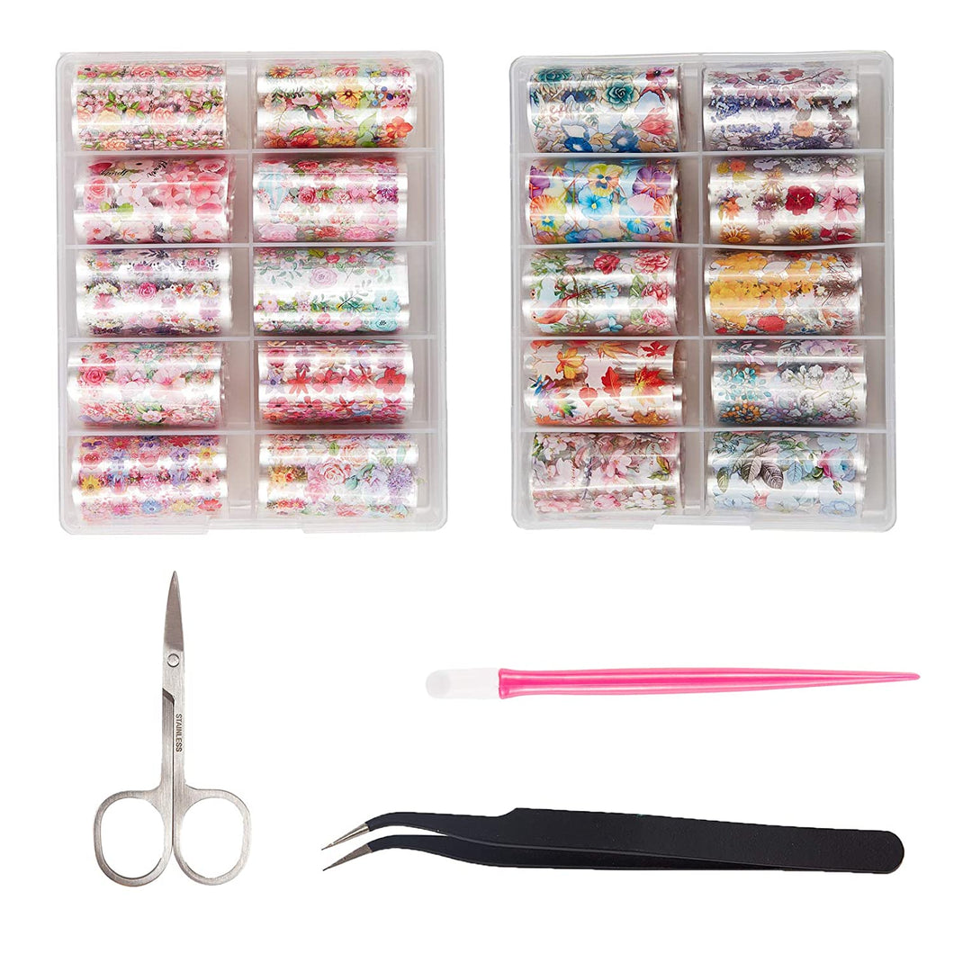 2 Boxes Flower Nail Art Foil Transfer Stickers(NAIL-NN0001-D050-1)