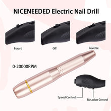 Load image into Gallery viewer, PRETEJOY Electric Nail Drill for Acrylic Gel Nails, 20000 RPM USB Portable Nail Drill Machine Kit, Professional Compact Efile Nail File Kit with 11Pcs Nail Drill Bits and 16Pcs Sanding Bands(NAIL-NN0001-K045)