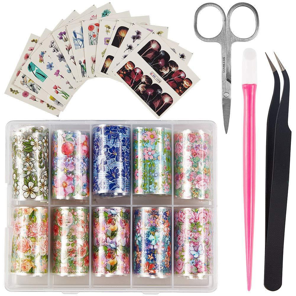 Flower Pattern Nail Art Foil Transfer Stickers(NAIL-NN0001-D030-2)