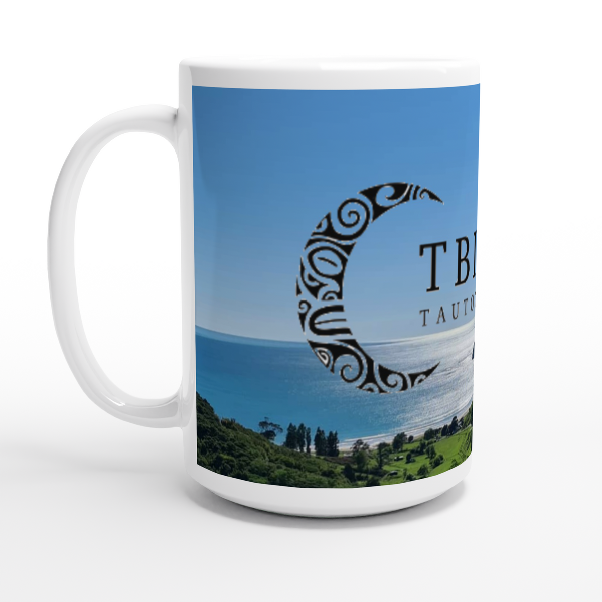 """Anaura Bay - TBI Tautoko"" White 15oz Ceramic Mug"