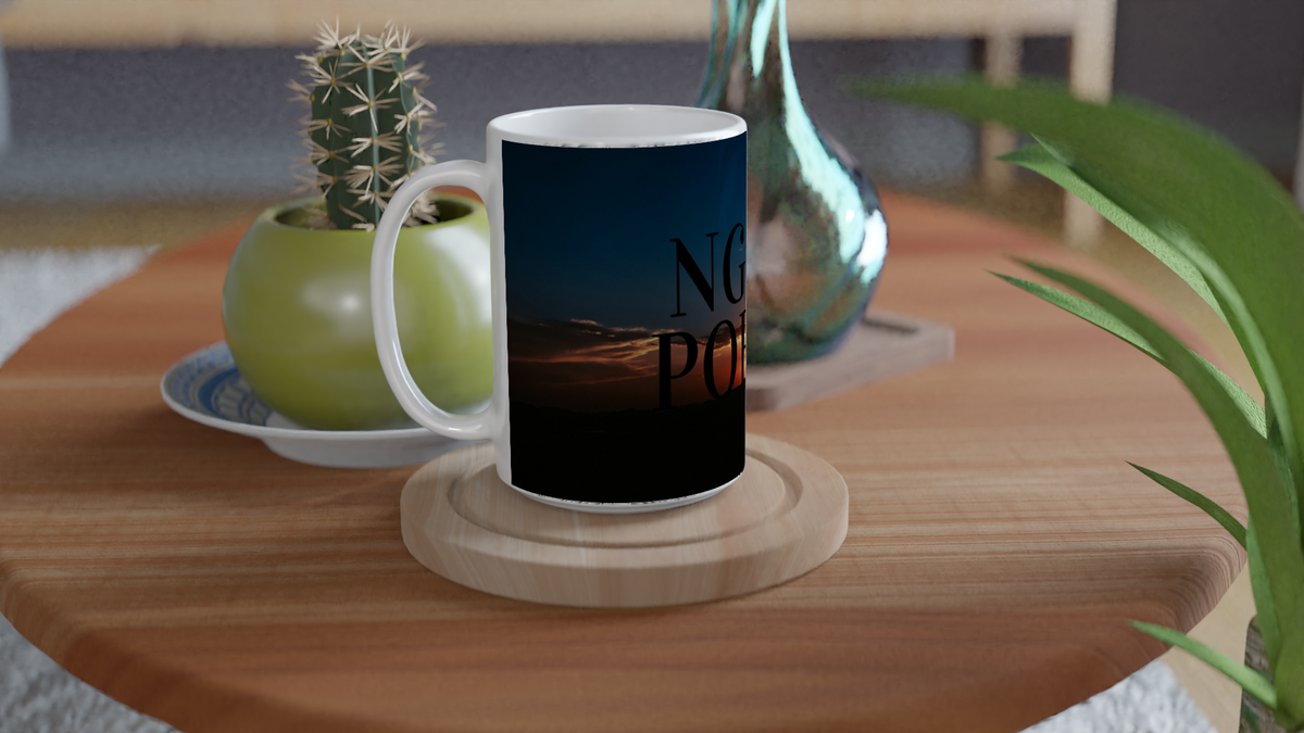 """Twilight Ngati Porou"" White 15oz Ceramic Mug"