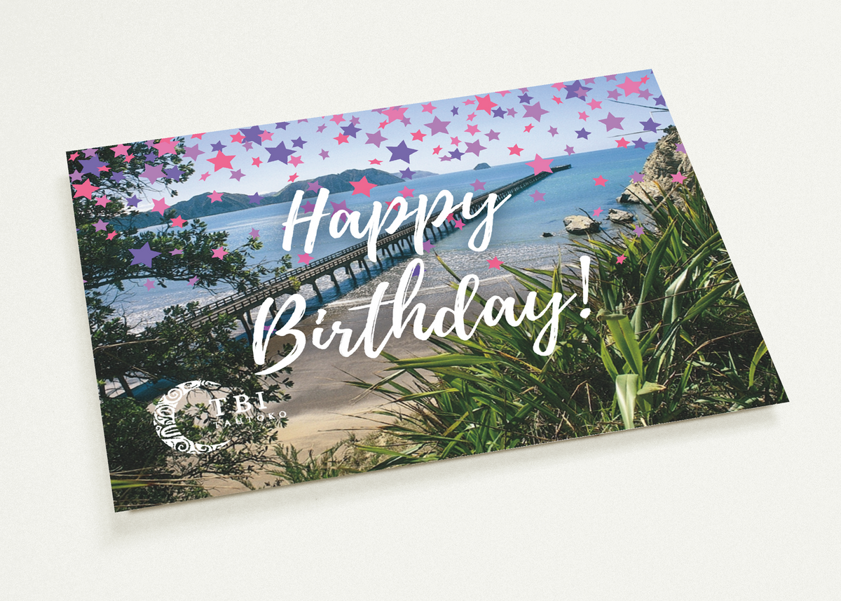"""Happy Birthday Girl - Tolaga Bay Wharf"" Matte Paper Cards 10pk"