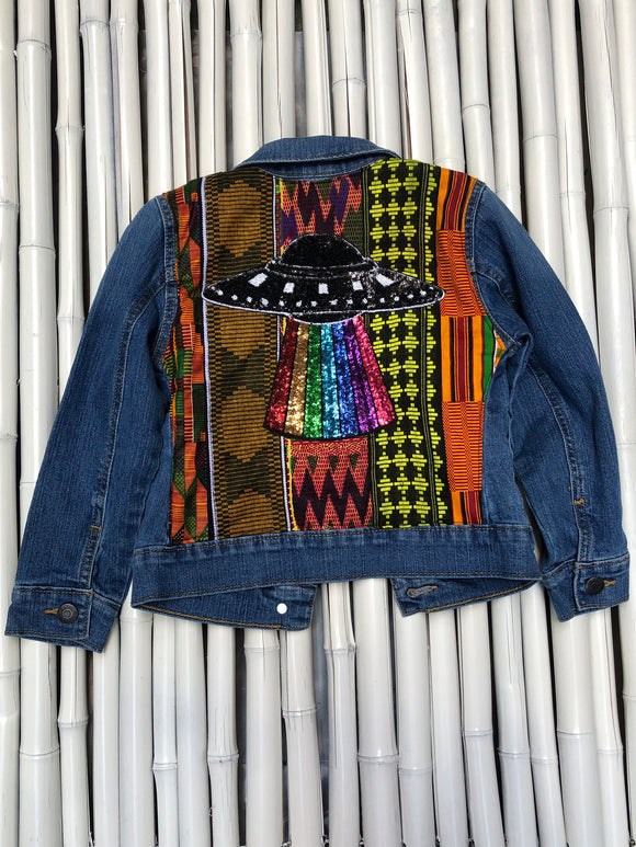 RAINBOW SPACESHIP CHILDREN'S DENIM JACKET
