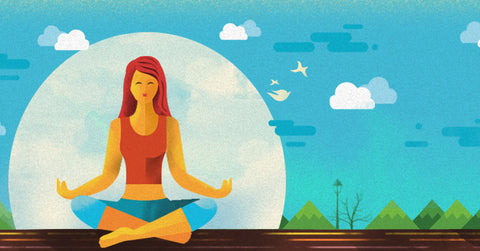 An illustration of a woman doing yoga.
