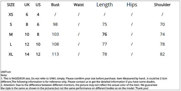summer casual dress size table