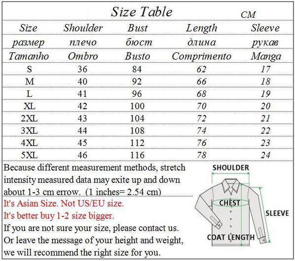 Donald Trump t shirt size table