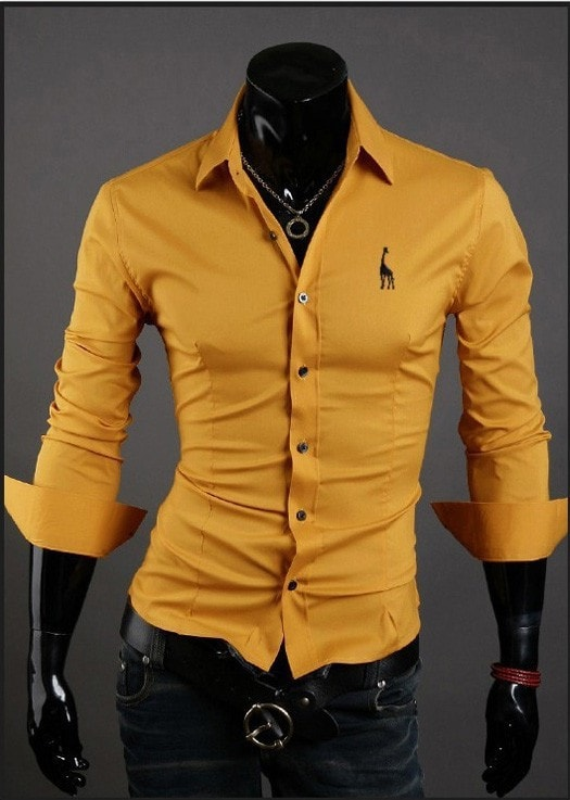 Mens Casual Button Down Shirts Embroidered Logo - Dress Shirts - eDealRetail - 9