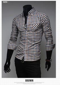 Classic Plaid Cotton Slim Long Sleeve Shirts - Casual Shirts - eDealRetail - 2