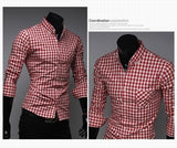 Classic Plaid Cotton Slim Long Sleeve Shirts - Casual Shirts - eDealRetail - 3
