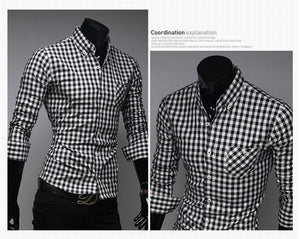 Classic Plaid Cotton Slim Long Sleeve Shirts - Casual Shirts - eDealRetail - 4