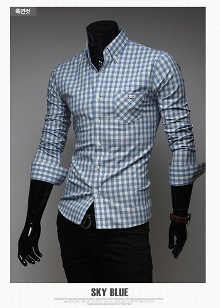 Classic Plaid Cotton Slim Long Sleeve Shirts - Casual Shirts - eDealRetail - 5