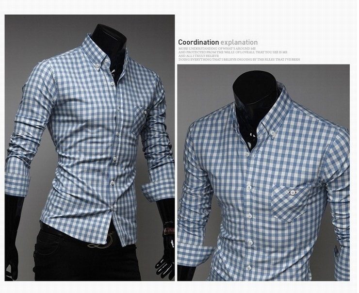 Classic Plaid Cotton Slim Long Sleeve Shirts - Casual Shirts - eDealRetail - 6