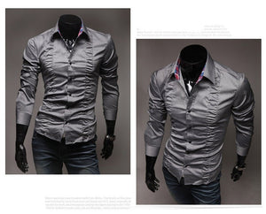 Chest Fold Design Luxury Dress Shirts - Casual Shirts - eDealRetail - 2
