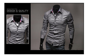 Chest Fold Design Luxury Dress Shirts - Casual Shirts - eDealRetail - 4