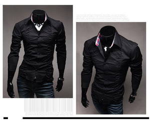 Chest Fold Design Luxury Dress Shirts - Casual Shirts - eDealRetail - 5