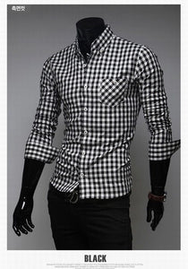 Classic Plaid Cotton Slim Long Sleeve Shirts - Casual Shirts - eDealRetail - 7