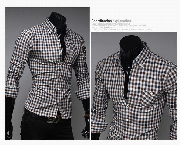 Classic Plaid Cotton Slim Long Sleeve Shirts - Casual Shirts - eDealRetail - 8