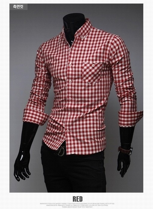 Classic Plaid Cotton Slim Long Sleeve Shirts - Casual Shirts - eDealRetail - 9