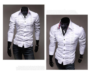 Chest Fold Design Luxury Dress Shirts - Casual Shirts - eDealRetail - 6
