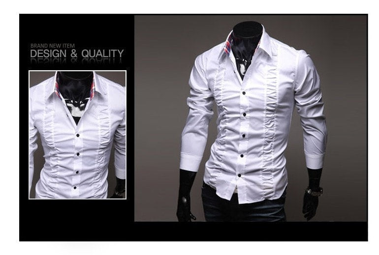 Chest Fold Design Luxury Dress Shirts - Casual Shirts - eDealRetail - 7
