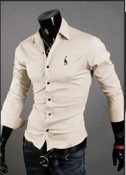 Mens Casual Button Down Shirts Embroidered Logo - Dress Shirts - eDealRetail - 11