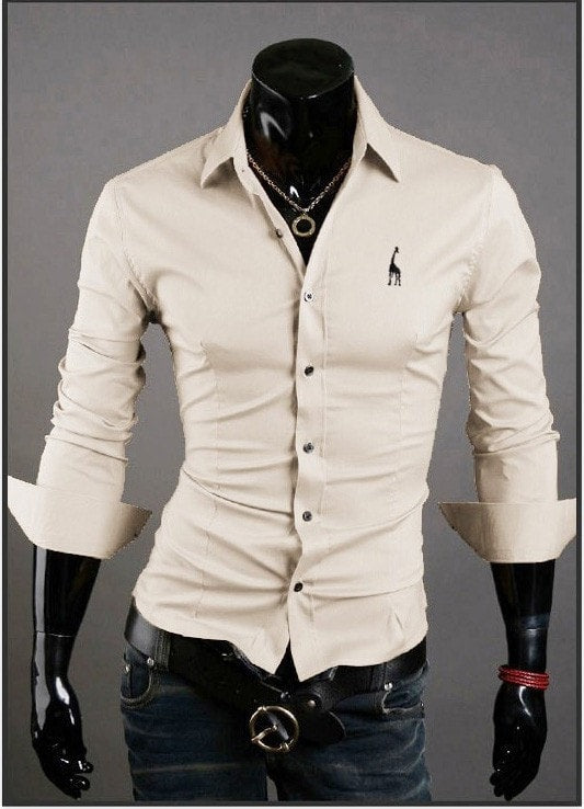 Mens Casual Button Down Shirts Embroidered Logo - Dress Shirts - eDealRetail - 12