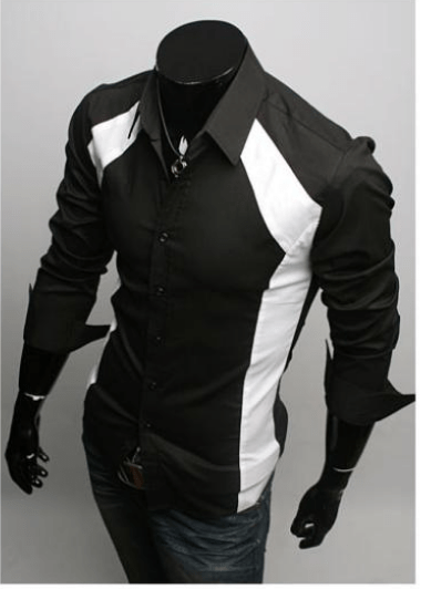 Luxury White/Black Slim Fit Two Tone Dress Shirts - Dress Shirts - eDealRetail - 3