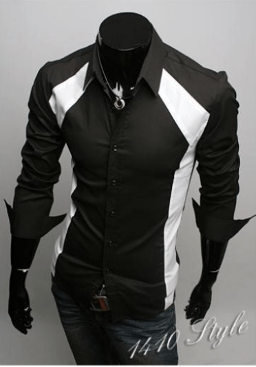 Luxury White/Black Slim Fit Two Tone Dress Shirts - Dress Shirts - eDealRetail - 4