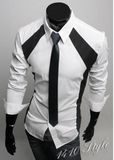 Luxury White/Black Slim Fit Two Tone Dress Shirts - Dress Shirts - eDealRetail - 5