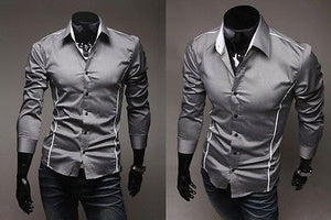 Slim Fit Long Sleeve Dress Shirts - Dress Shirts - eDealRetail - 3