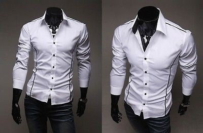 Slim Fit Long Sleeve Dress Shirts - Dress Shirts - eDealRetail - 2