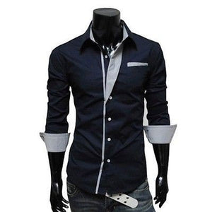 Mens Long Sleeve Formal Fitted Dress Shirts - Dress Shirts - eDealRetail - 9