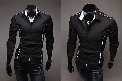Slim Fit Long Sleeve Dress Shirts - Dress Shirts - eDealRetail - 4
