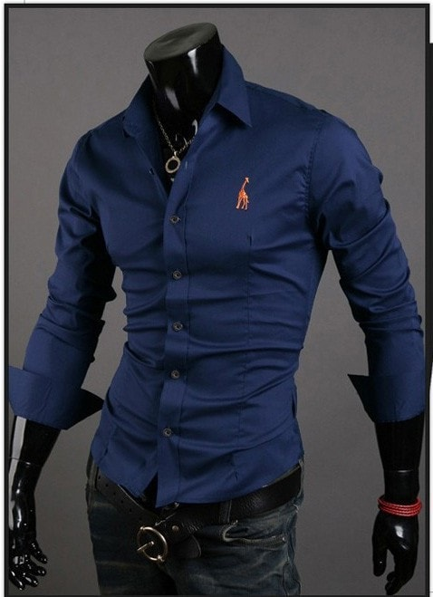 Mens Casual Button Down Shirts Embroidered Logo - Dress Shirts - eDealRetail - 2