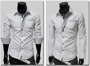 Mens Long Sleeve Formal Fitted Dress Shirts - Dress Shirts - eDealRetail - 11