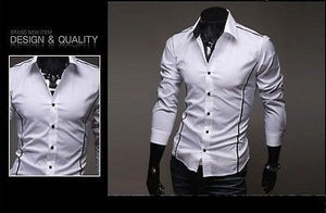 Slim Fit Long Sleeve Dress Shirts - Dress Shirts - eDealRetail - 7