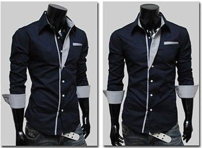 Mens Long Sleeve Formal Fitted Dress Shirts - Dress Shirts - eDealRetail - 13