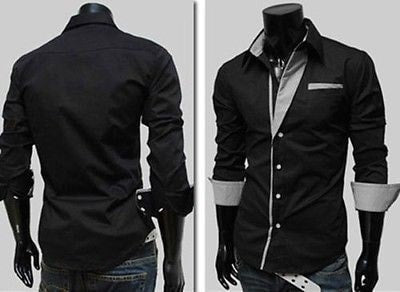 Mens Long Sleeve Formal Fitted Dress Shirts - Dress Shirts - eDealRetail - 4