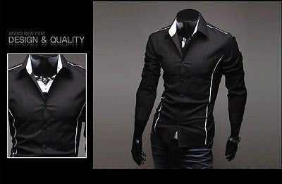 Slim Fit Long Sleeve Dress Shirts - Dress Shirts - eDealRetail - 5