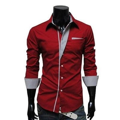 Mens Long Sleeve Formal Fitted Dress Shirts - Dress Shirts - eDealRetail - 7