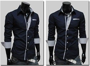 Mens Long Sleeve Formal Fitted Dress Shirts - Dress Shirts - eDealRetail - 8