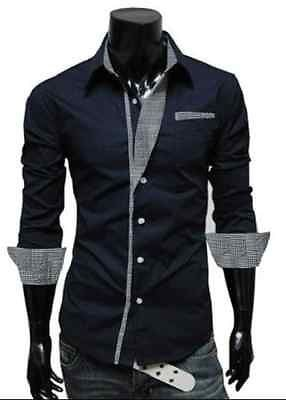 Mens Long Sleeve Formal Fitted Dress Shirts - Dress Shirts - eDealRetail - 2