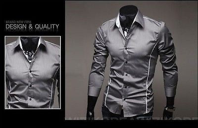 Slim Fit Long Sleeve Dress Shirts - Dress Shirts - eDealRetail - 6
