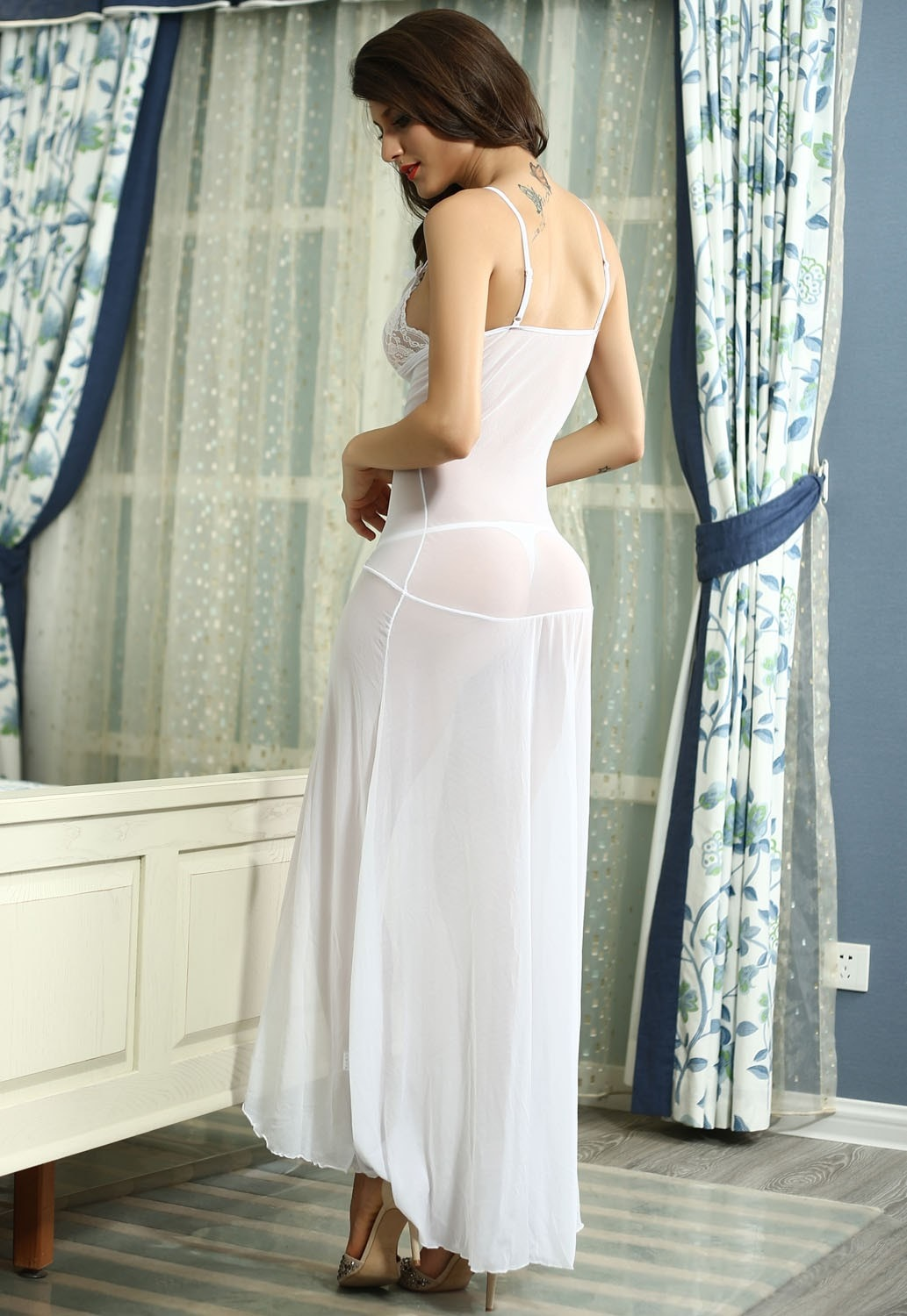 Sexy Long White Bride Sleepwear Gown  Edealretail-7789