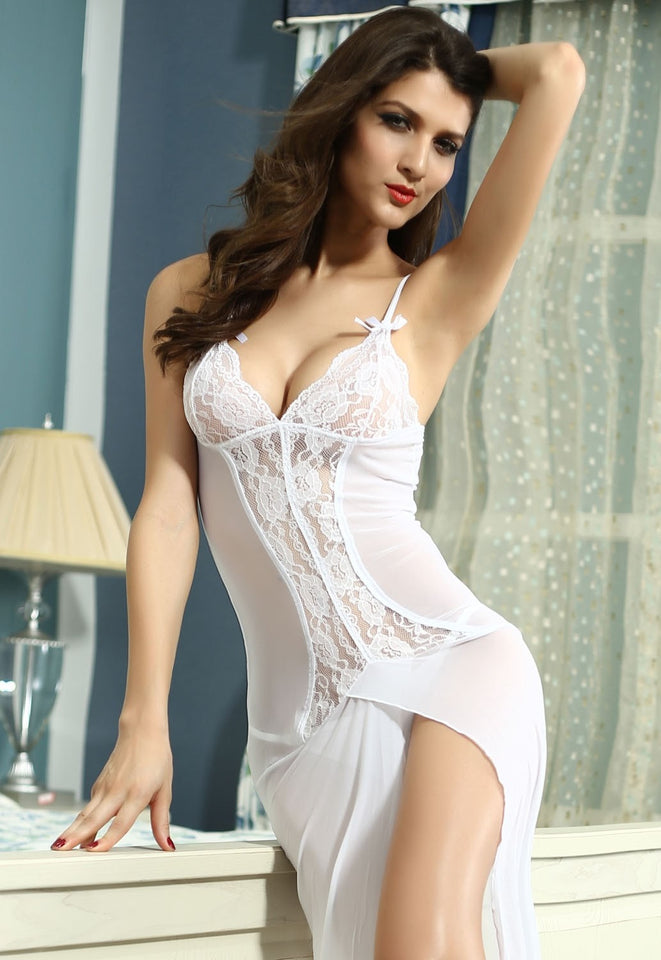 Sexy Long White Bride Sleepwear Gown - lingerie - eDealRetail - 2