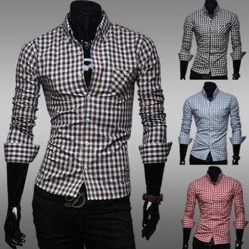Classic Plaid Cotton Slim Long Sleeve Shirts - Casual Shirts - eDealRetail - 1