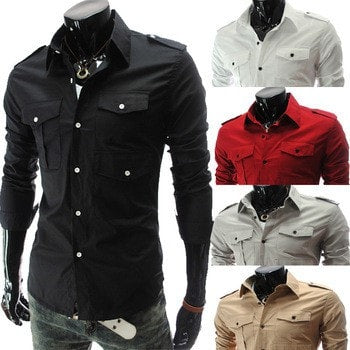 Casual Long Sleeve Solid Dress Shirts - Casual Shirts - eDealRetail - 1
